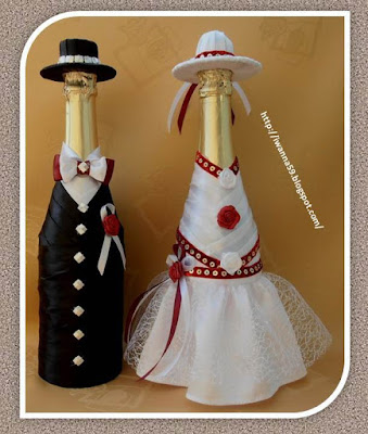Fantastyczny Ręczne Robótki Anny: Buteleczki w strojach ślubnych NH61