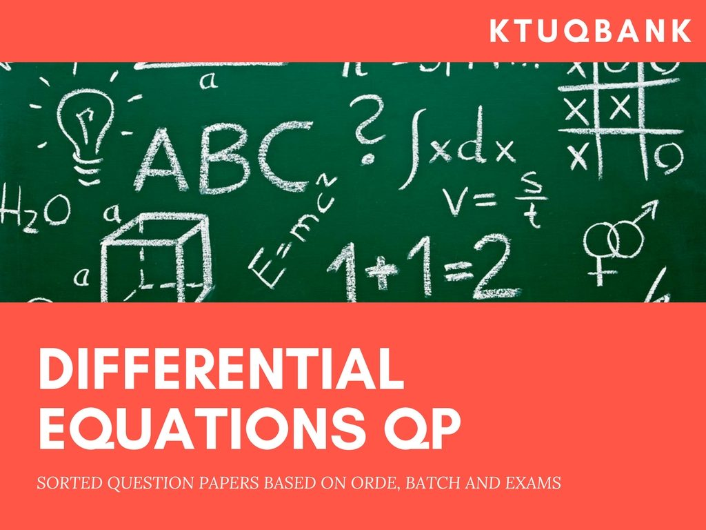 Differential Equations | MA102 | Question Papers (2015 batch)