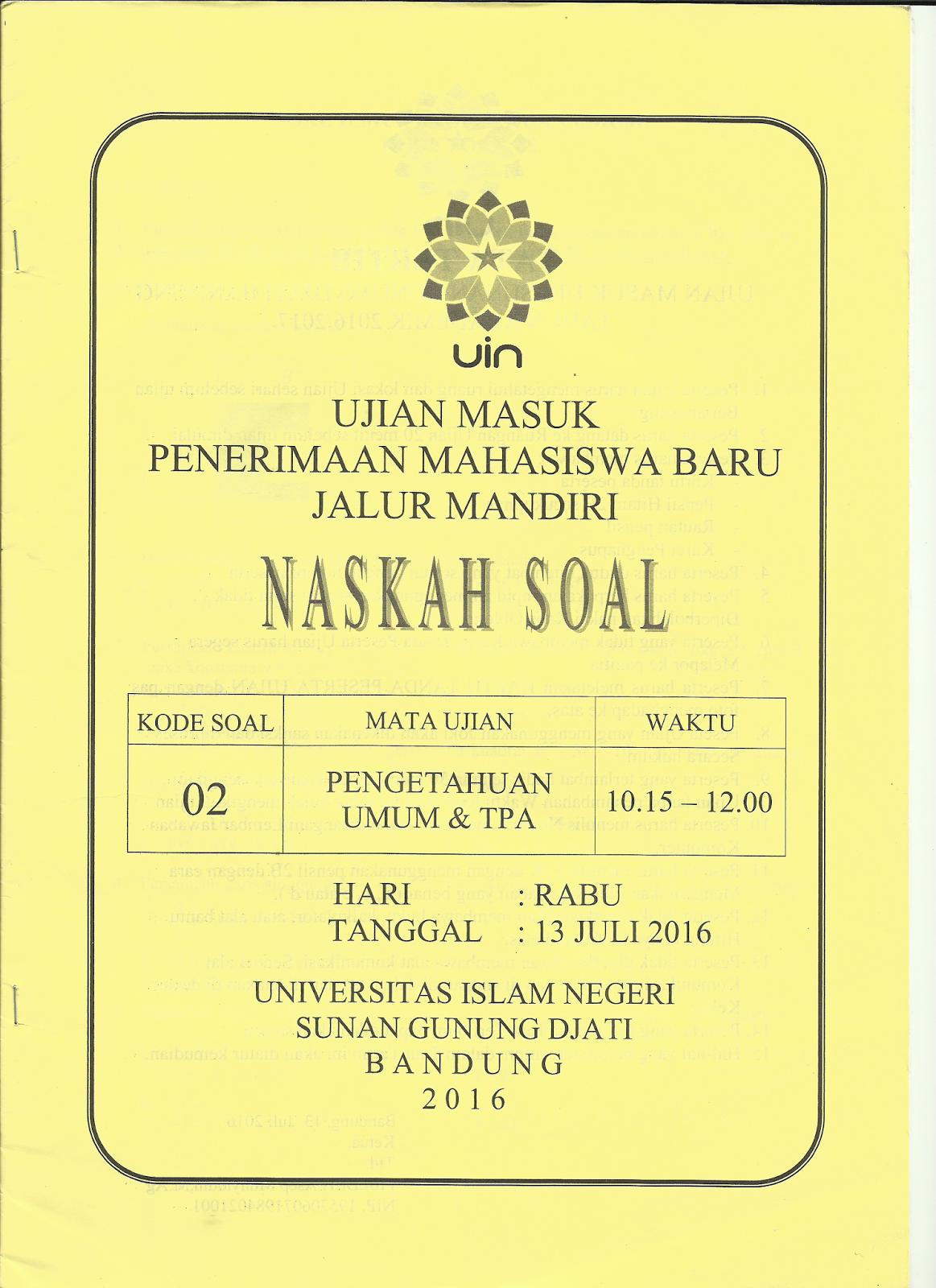 Download Soal Ujian Mandiri Uin Sgd Bandung 2016 Paduan Kuliah