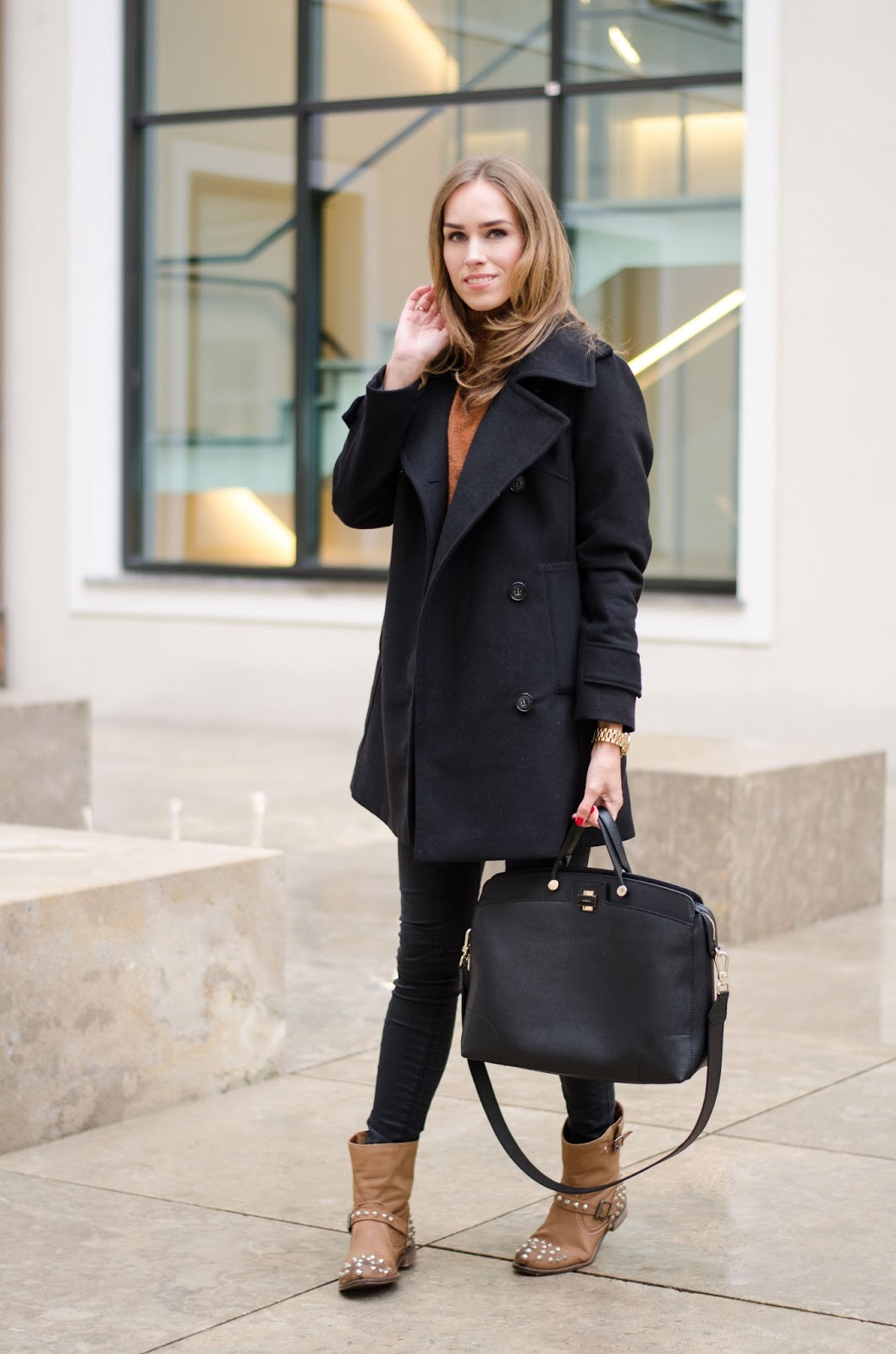 kristjaana mere pea coat jeans ankle boots fall outfit look fashion