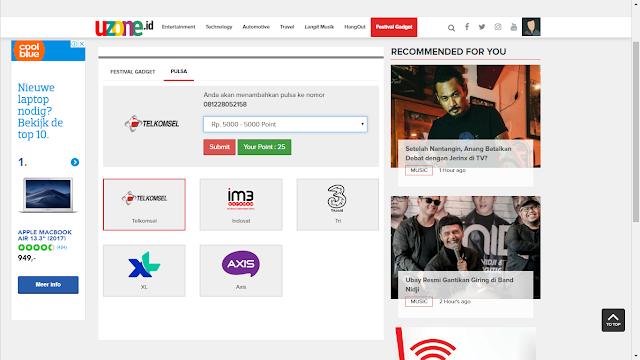 uzone.id, website penghasil pulsa gratis