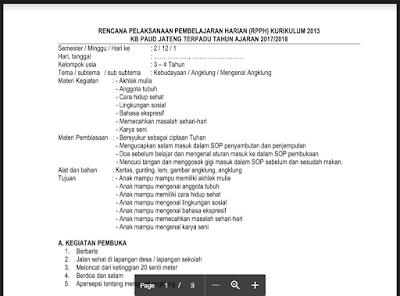 RPPH KB B Semester 2 Tema Angklung Kurikulum 2013