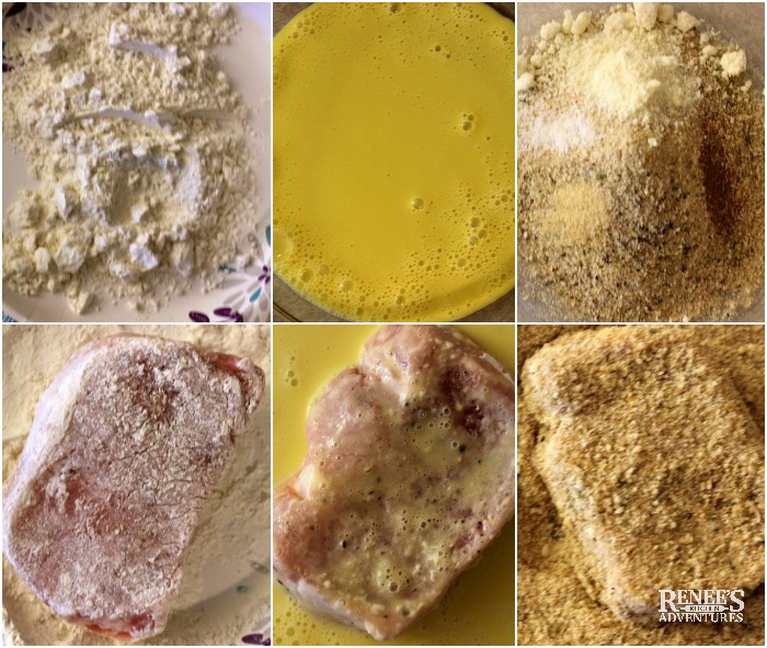Picture tutorial on breading pork chops