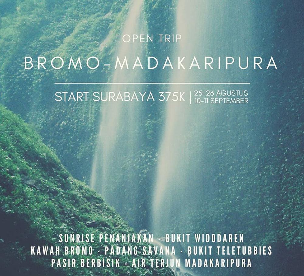 paket open trip gunung bromo dan air terjun madakaripura via surabaya