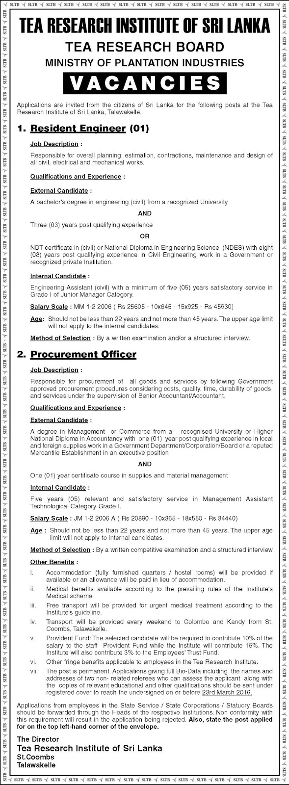 Vacancies - Resident Engineer, Procurement Officer - Tea Research Institute of Sri Lanka - Ministry of Plantation Industries