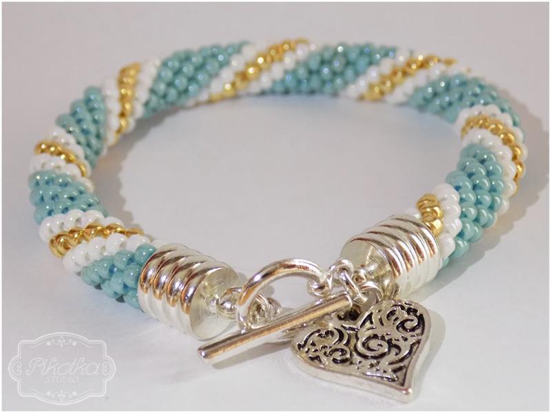 sznur szydełkowo-koralikowy, crochet bead, bransoletka,