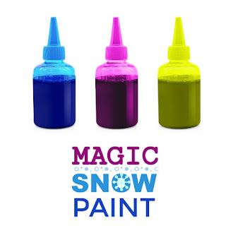 "MAGIC SNOW PAINT- easy to make & so fun!  My kids had a blast hunting for ""magic snow!"" #snowpaintrecipe #winterplayrecipe #wintercraftforkids"