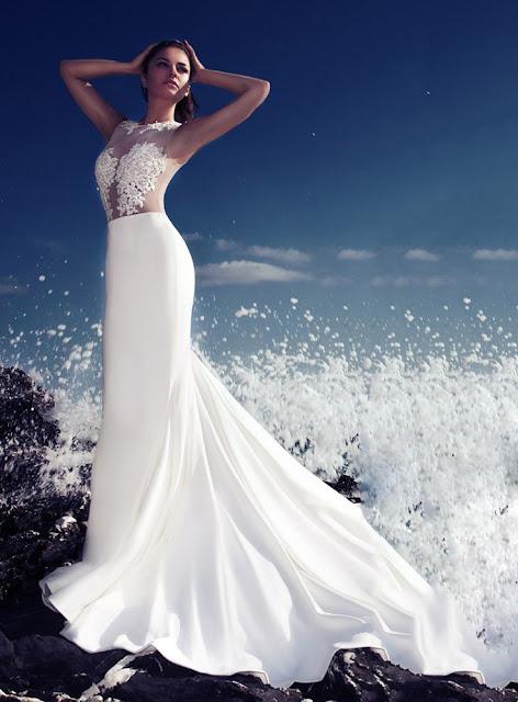 Sexy Scoop Appliques Floor-Length Ivory Zipper-Up 2015 Wedding Dress (11341444)