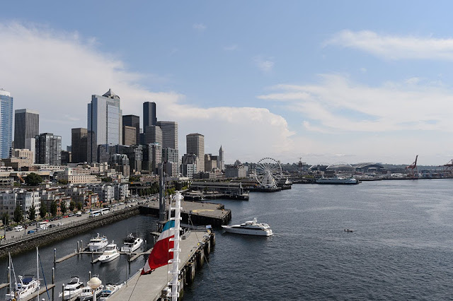 View from the deck of the Norwegian Pearl in Seattle