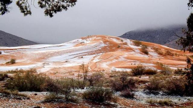 Salju Turun di Gurun Sahara