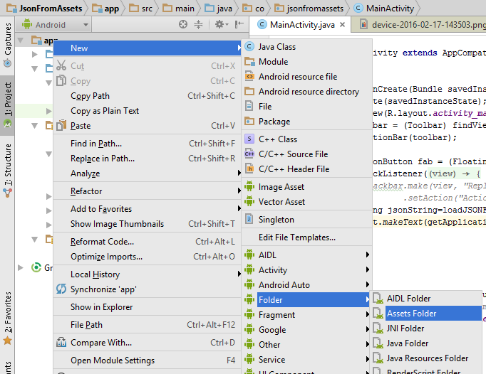 Load or get json from assets and parse in android studio