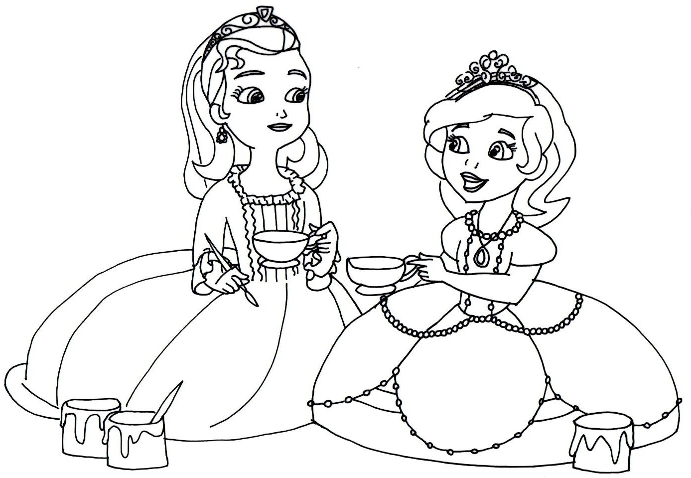 Sofia The First Coloring Pages Tea Cups Party Sofia The First