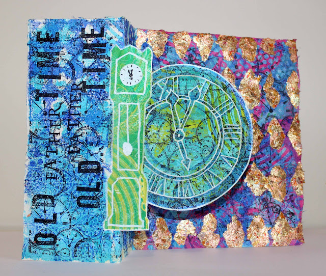 gold leaf close up old father time mixed media Gelli challenge