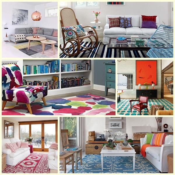 decoração com tapetes coloridos