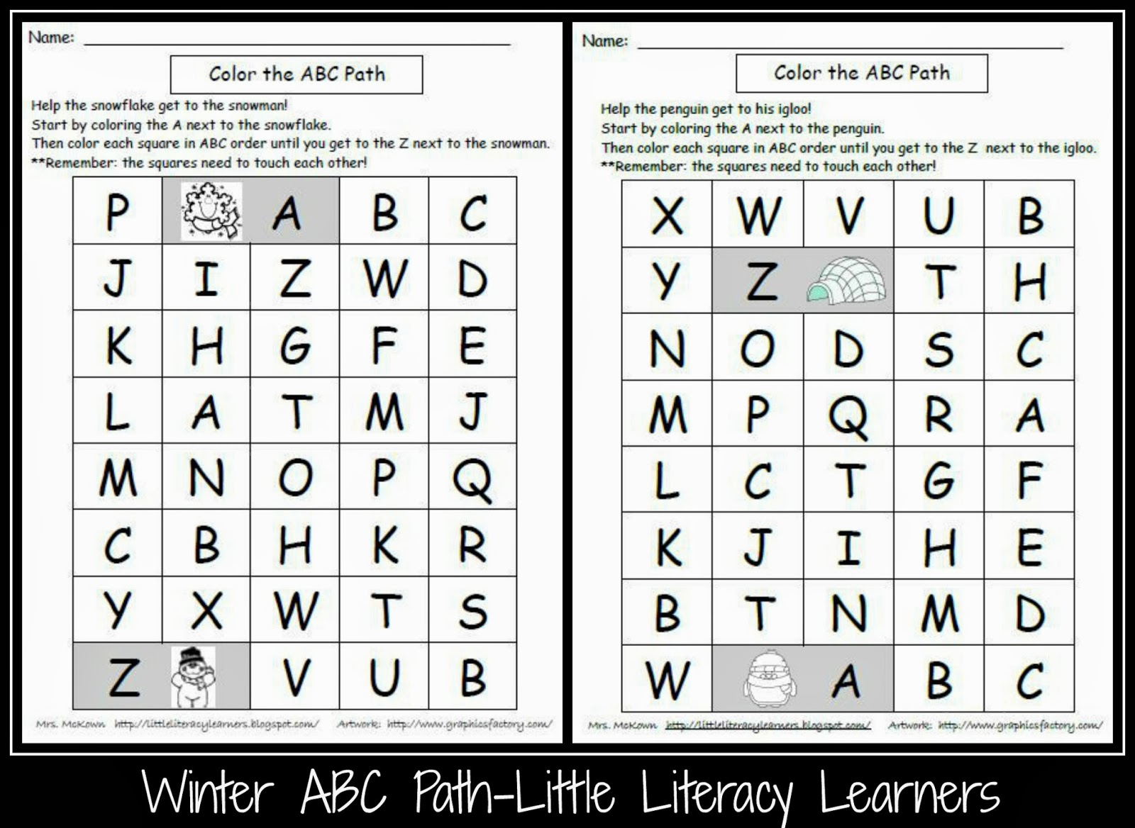 Little Literacy Learners Valentine S Day Abc Path Freebie
