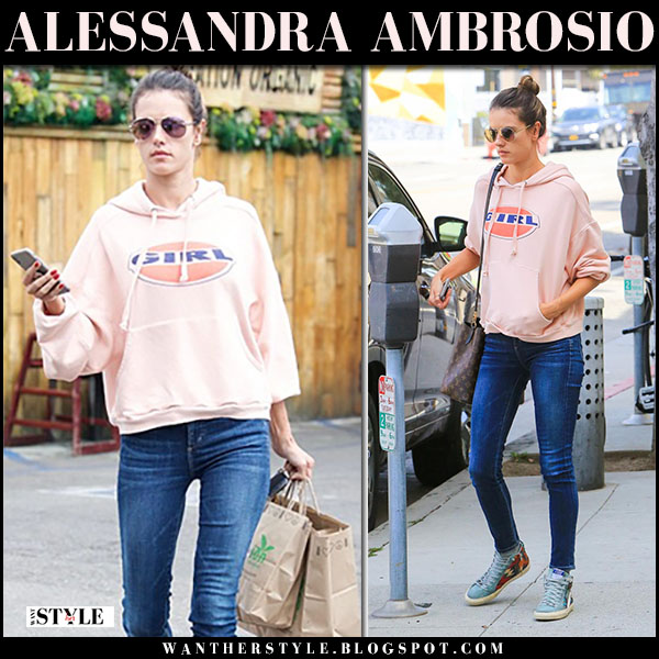 Alessandra Ambrosio in pink hoodie and skinny jeans model street style march 9
