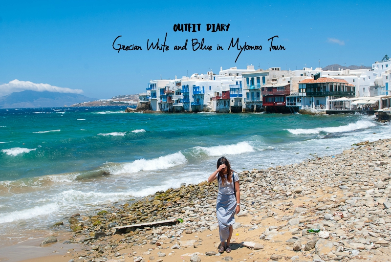 outfit diary header image of post featuring a day around mykonos town
