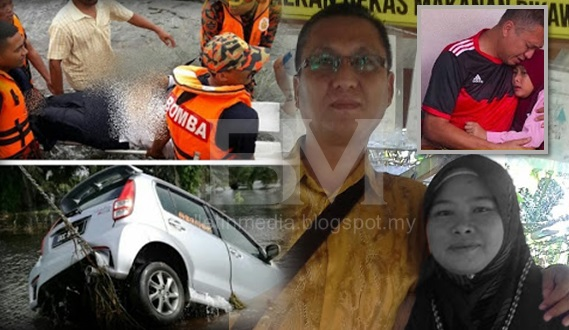 Sayu : Selamat tinggal sayang .. Ustazah ajal diparit suami keluarkan nya dari kereta yang tenggelam (10 Gambar)