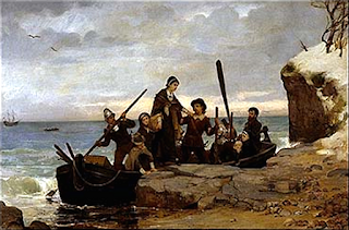 """Landing-Bacon"" by Henry A. Bacon - http://upload.wikimedia.org/wikipedia/commons/f/ff/Panoramic_Boston.jpg. Licensed under Public Domain via Commons - https://commons.wikimedia.org/wiki/File:Landing-Bacon.PNG#/media/File:Landing-Bacon.PNG"