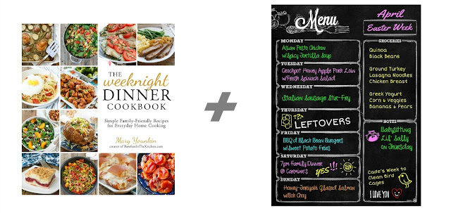 The Weeknight Dinner Cookbook by Mary Younkin + a Magnetic Dry Erase Weekly Chalkboard Menu