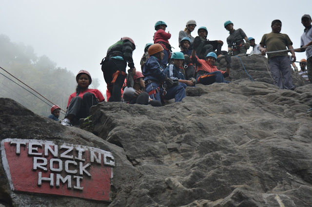 trainees at Tenzing Rock, Darjeeling
