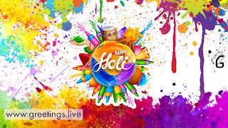 Colourful Happy Holi festival greetings India