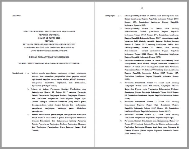 Permendikbud Nomor 10 Tahun 2018 Tentang Petunjuk Teknis Penyaluran Tunjangan Profesi, Tunjangan Khusus, dan Tambahan Penghasilan Guru Pegawai Negeri Sipil Daerah