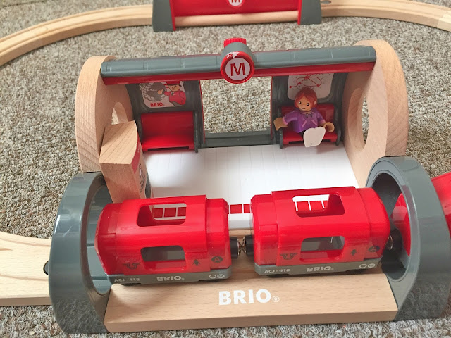 brio metro station with train in