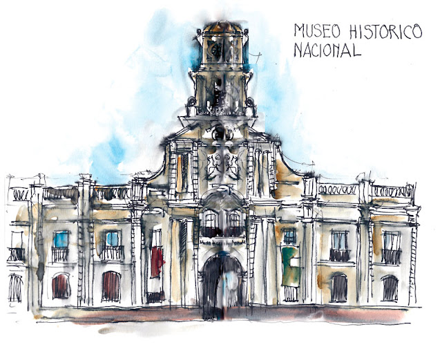 Building of the National Historical Museum - sketch made with ink pen and  brush pen by Erika Brandner