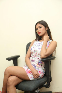Nishi Ganda stunning cute in Flower Print short dress at Tick Tack Movie Press Meet March 2017 119.JPG