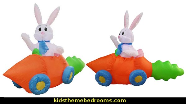 Bunny in Carrot Car - Yard Decoration   Peter Rabbit party supplies - Peter Rabbit Party Ideas - Peter Rabbit Party Theme  decorations - Peter Rabbit birthday party decorations - Peter Rabbit spring garden party decorating - garden party - Carrots Chocolate Candy molds  -  Carrot cake cookie molds - flower decorations - bunny party sweets - bunny party supplies