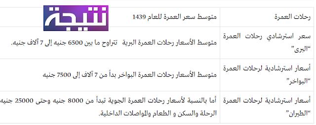 أسعار العمرة 2018 سعر حجز رحلات العمرة 1439