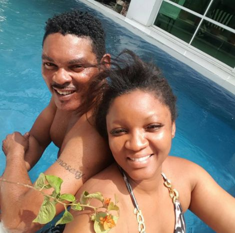 Omotola Shares Pics With Hubby Playing In Swimming Pool