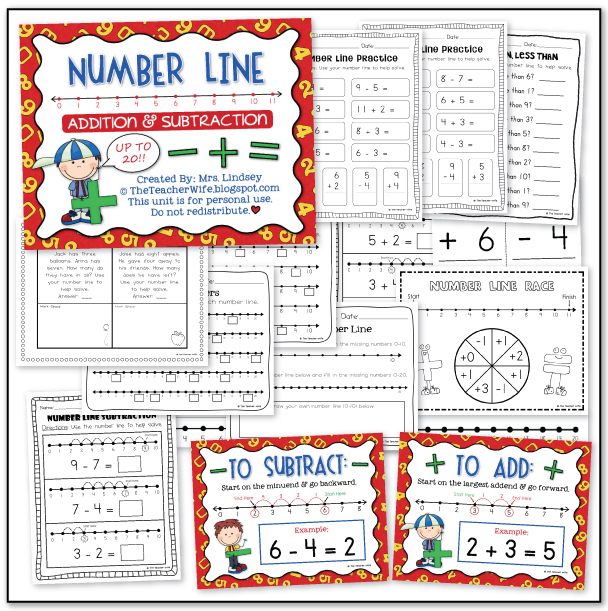 The Teacher Wife Number Line Addition Subtraction
