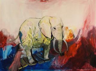 Maleri,kunst,art,noget til vægen,glade farver,acryl,elefant,elephant,bro,børn,clean world,