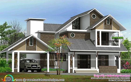 Sloping roof architecture plan 2500 sq-ft
