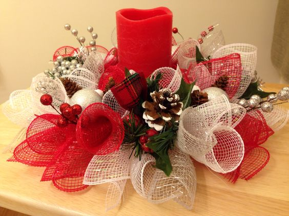 Aprende c mo hacer centros de mesa navide os con mallas - Como hacer un centro de mesa navideno ...