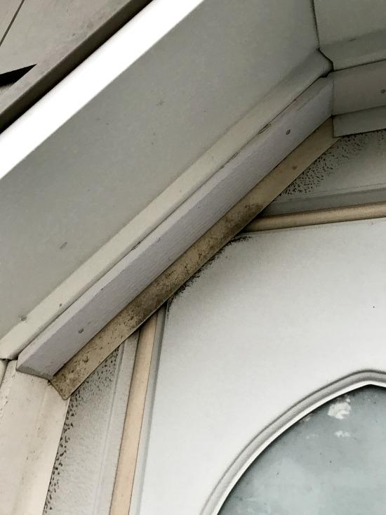 discolored and moldy garage door trim