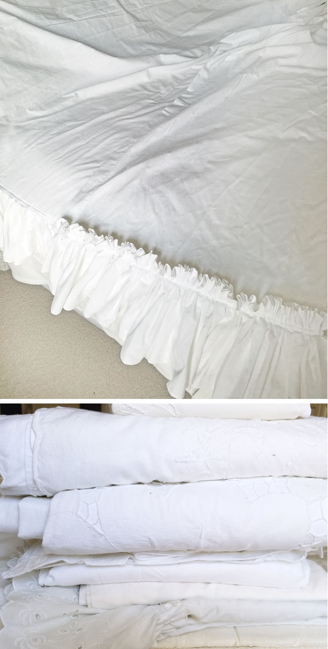 curtains and white linens repurposed