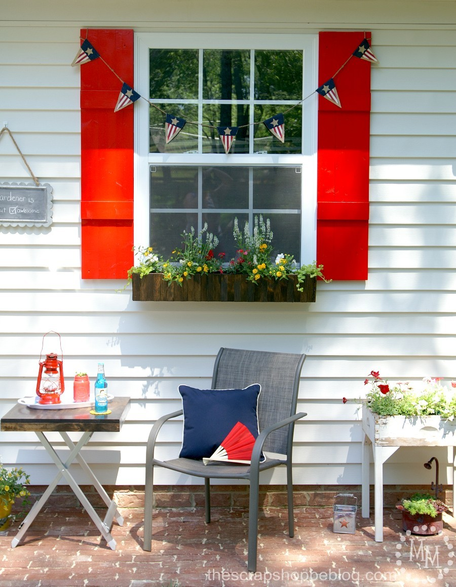 Americana Potting Shed with DIY Red Shutters