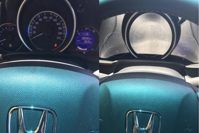 Honda FIT 2016 - painel com reflexos do sol - visibilidade prejudicada