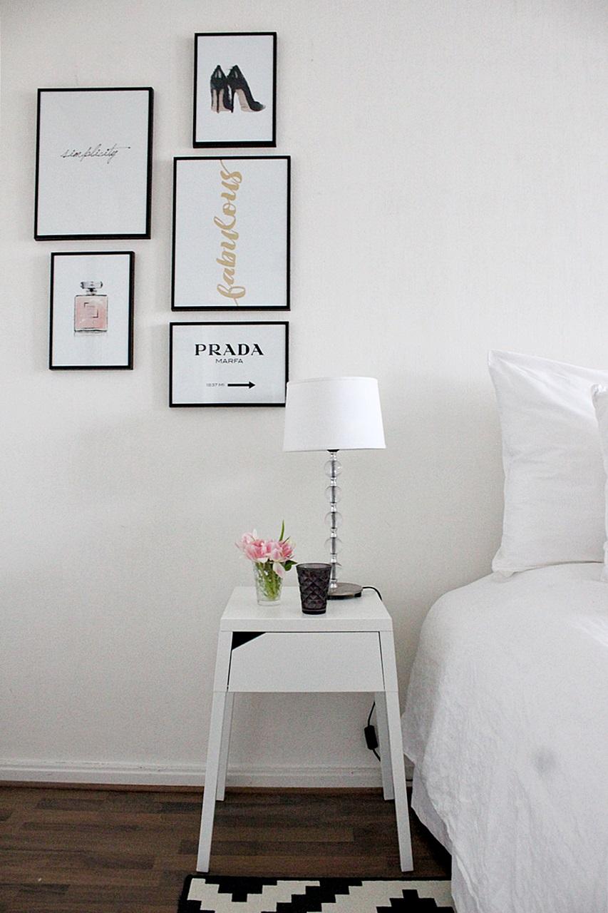 makuuhuone bedroom decor ikea lappljung ruta selje night table desenio posters simplicity simple interior