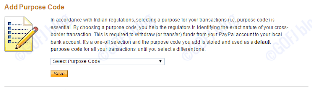 Selecting purpose code on PayPal India