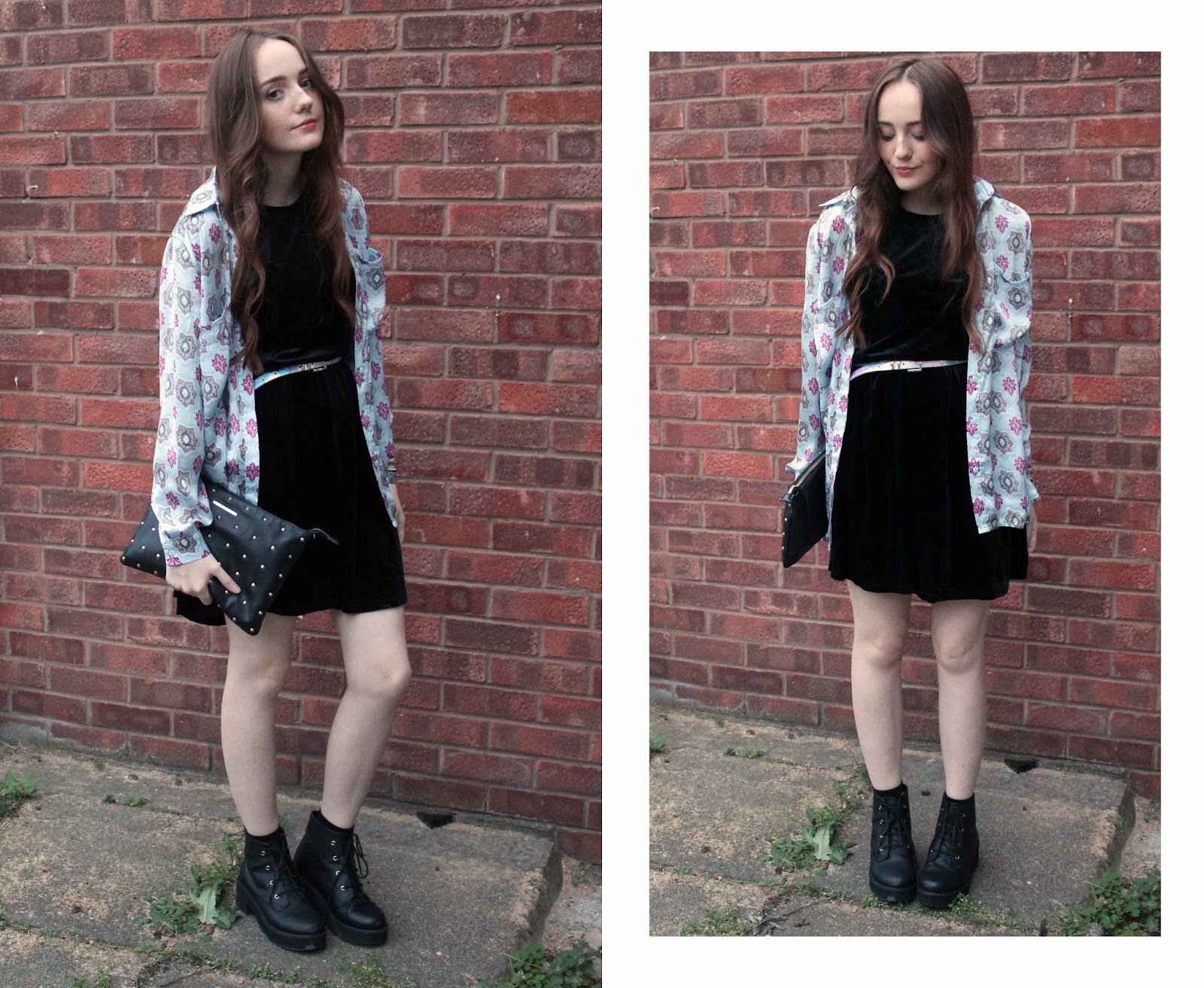 OOTD featuring black velvet skater dress from get the label, missguided printed blue and pink shirt, blue and pink iridescent belt from primark, asos revolution ankle boots and black studded clutch bag from river island