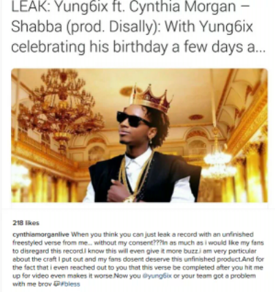 CYNTHIA MORGAN CALLS OUT RAPPER YUNG6IX OVER NEW SONG
