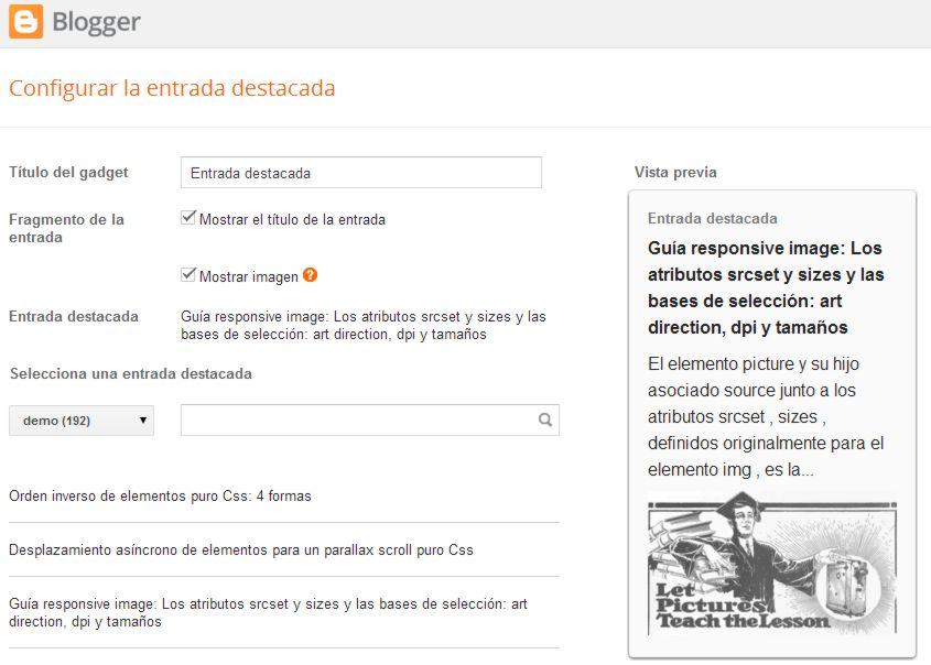 captura pantalla nuevo widget entrada destacada
