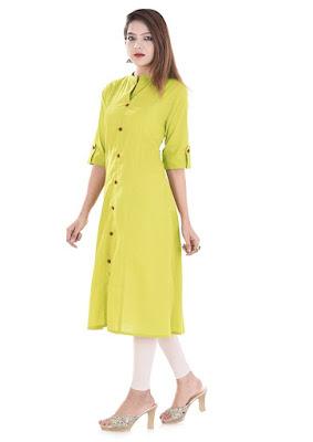 Women's Front-Slit Solid Cotton Kurti