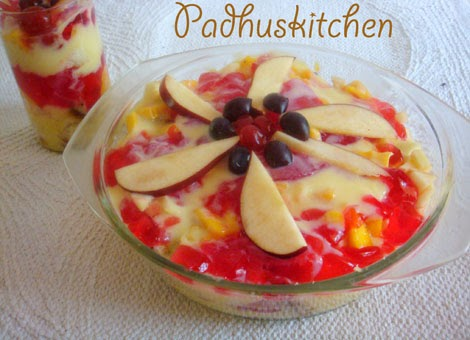 Fruit Custard Cake Recipe