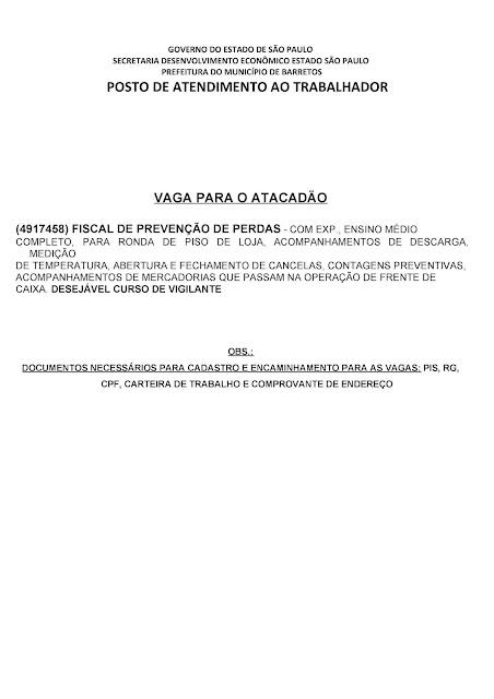 VAGAS DE EMPREGO DO PAT BARRETOS-SP PARA 16/04/2019 TERÇA-FEIRA - Pag. 2