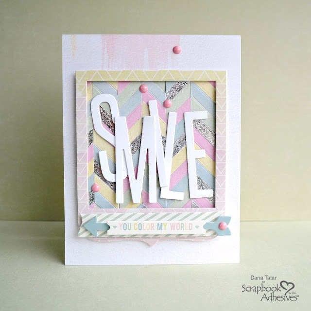 Pastel and Silver Holographic Foil Die-Cut Paper Pieced Chevron Background on a Handmade Card